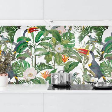 Rivestimento cucina - Tucano tropicale con monstera e foglie di palma