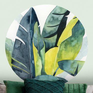 Carta da parati rotonda autoadesiva - vegetazione tropicale - Banana