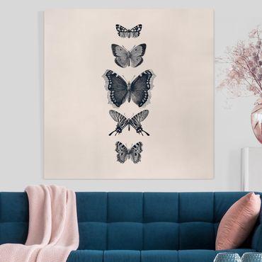 Stampa su tela - Farfalla in china su beige - Quadrato 1:1