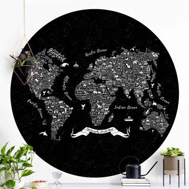 Carta da parati rotonda autoadesiva - Tipografia Mappa del mondo nero