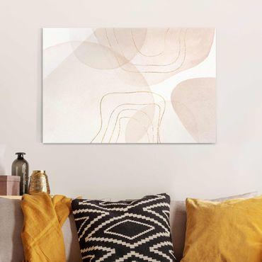 Quadro in vetro - Impressioni frivole con linee dorate