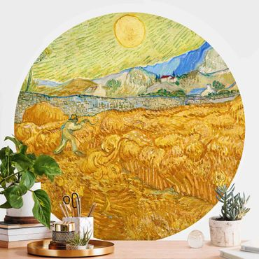 Carta da parati rotonda autoadesiva - Vincent van Gogh - Campo di grano con Reaper