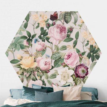 Carta da parati esagonale adesiva con disegni - Illustrazione di fiori vintage XXL