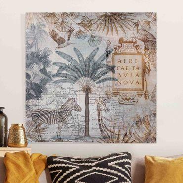 Stampa su tela - Vintage Collage carta geografica dell'Africa - Quadrato 1:1