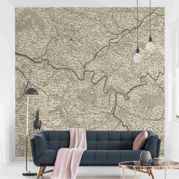Carta da parati - Cartina vintage della Francia