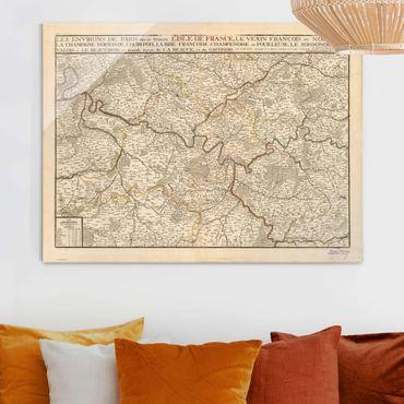 Quadro in vetro - Cartina vintage della Francia