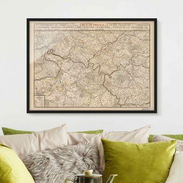 Poster con cornice - Cartina vintage della Francia