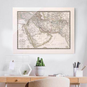 Quadro in vetro - Cartina vintage in Oriente