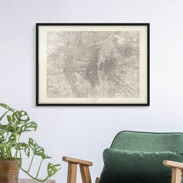 Poster con cornice - Mappa vintage Paris