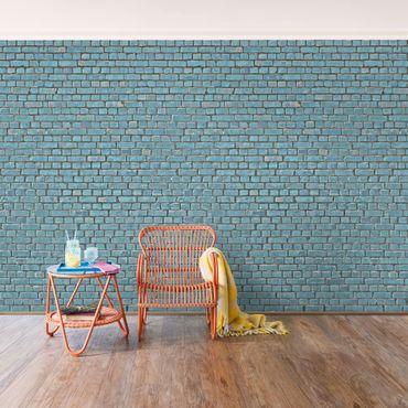 Carta da parati - Brick tile wallpaper turquoise blue