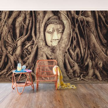 Carta da parati - Buddha in Ayutthaya lined by tree roots in brown