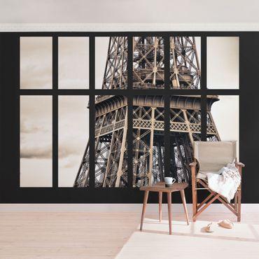 Carta da parati - Window Eiffel tower Paris