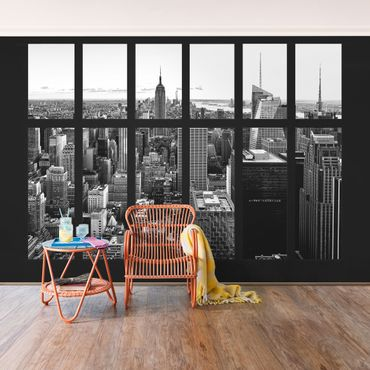 Carta da parati - Window Manhattan Skyline black-white