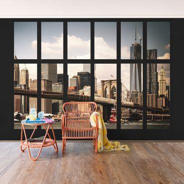 Carta da parati - Window New York Brooklyn Bridge