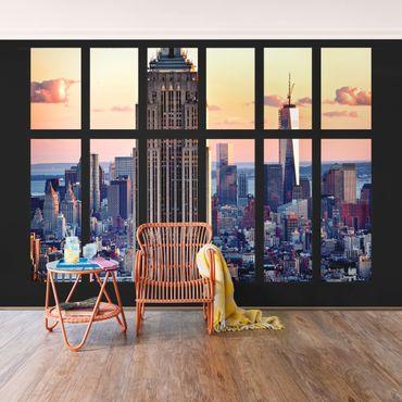 Carta da parati - Window View Empire State Building sunset