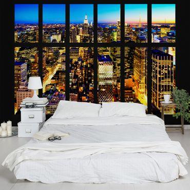 Carta da parati - Window View Manhattan Skyline by Night