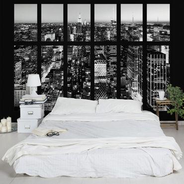 Carta da parati - Window View Manhattan Skyline black-white