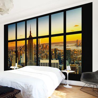 Carta da parati - Window View Manhattan Skyline sunset