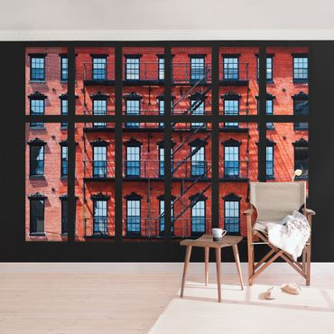 Carta da parati - Window View red American Buildings Facades