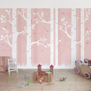 Carta da parati - pink birches with butterflies and birds