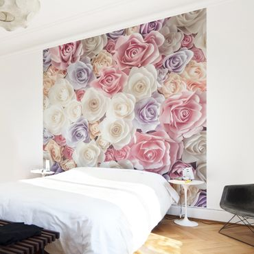Carta da parati - Pastel Paper Art roses