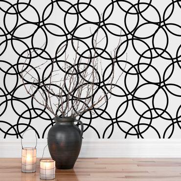 Carta da parati - Black circles pattern