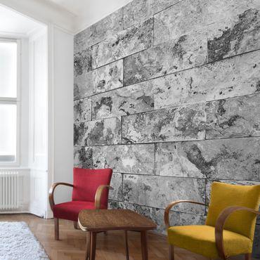 Carta da parati - Stone wall natural marble gray