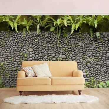 Carta da parati - Stone wall with plants