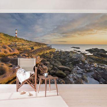 Carta da parati - Tarbat Ness Lighthouse and sunset at the sea
