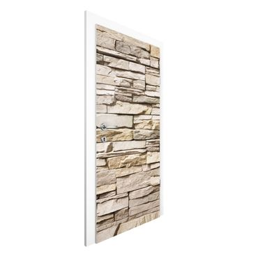 Carta da parati per porte - Asian Stonewall - Stone wall with big bright stones