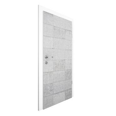 Carta da parati per porte - Conctrete Wallpaper - Grey Concrete Block Wall