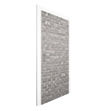 Carta da parati per porte - Conctrete Wallpaper - Grey Concrete Block Wall