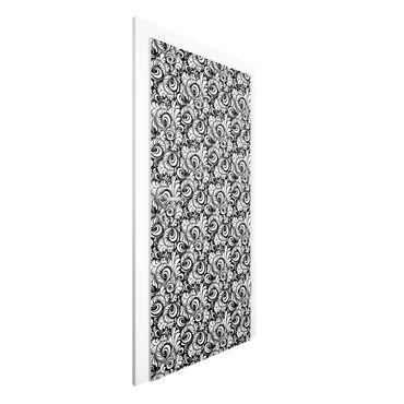 Carta da parati per porte - Black and White Leaves Pattern
