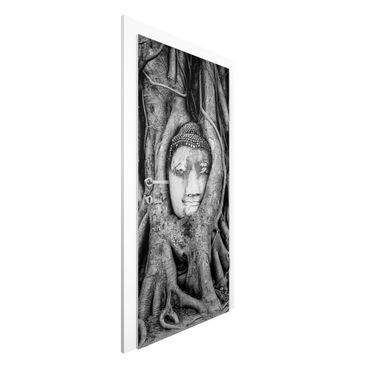 Carta da parati per porte - Buddha in Ayutthaya lined by tree roots in black-and-white