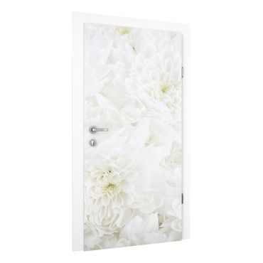 Carta da parati per porte - Dahlias sea of flowers white