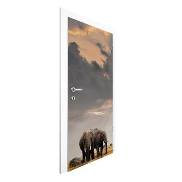 Carta da parati per porte - Elephant savanna