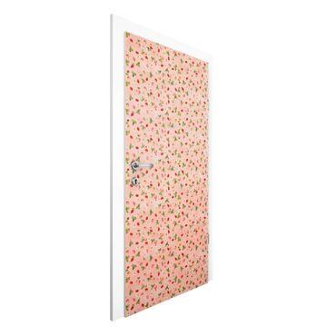 Carta da parati per porte - The Strawberry Fairy - Strawberry Flowers