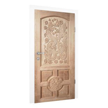 Carta da parati per porte - Carved Asian Wooden Door from Thailand