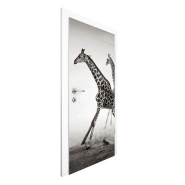 Carta da parati per porte - Giraffe Hunting
