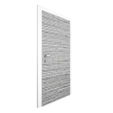 Carta da parati per porte - Wood Panel Wallpaper - Black and White Wood Planks