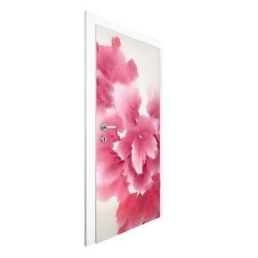 Carta da parati per porte - Fiori rosa astratti I