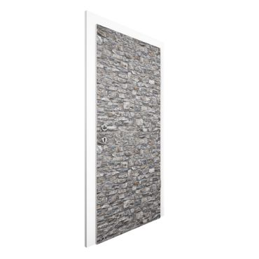 Carta da parati per porte - Stone Wallpaper - Grey Natural Stone Wallpaper