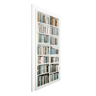 Carta da parati per porte - Carta da parati libreria per porte - Effetto finta libreria