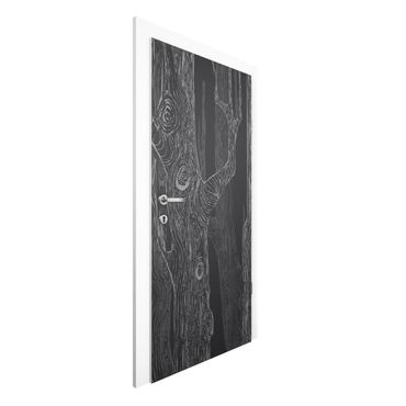 Carta da parati per porte - No.MW20 Living forest anthracite grey