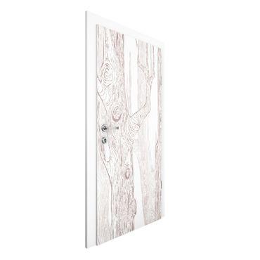 Carta da parati per porte - No.MW20 Living forest White-Brown
