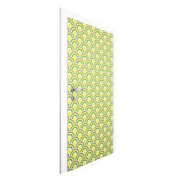 Carta da parati per porte - No.TA99 Retro Pattern green-yellow