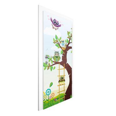 Carta da parati per porte - No.YK23 Funny Owls tree