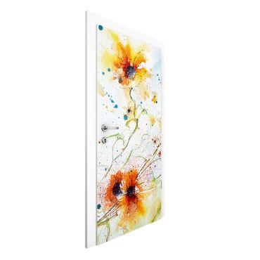 Carta da parati per porte - Painted Flowers