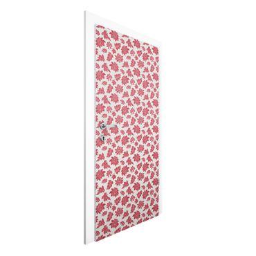 Carta da parati per porte - Red baroque floral pattern
