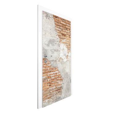 Carta da parati per porte - Shabby brick wall